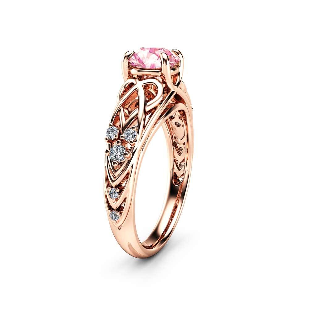 Celtic Moissanite Engagement Ring 14K Rose Gold Moissanite Ring Filigree Engagement Ring