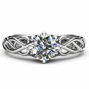 Unique Victorian Moissanite Engagement Ring 14K White Gold Ring Unique Art Deco Engagement Ring