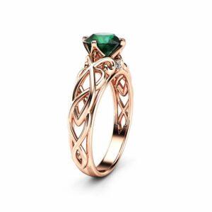 Unique Victorian Emerald Engagement Ring 14K Rose Gold  Ring Art Deco Emerald  Engagement Ring
