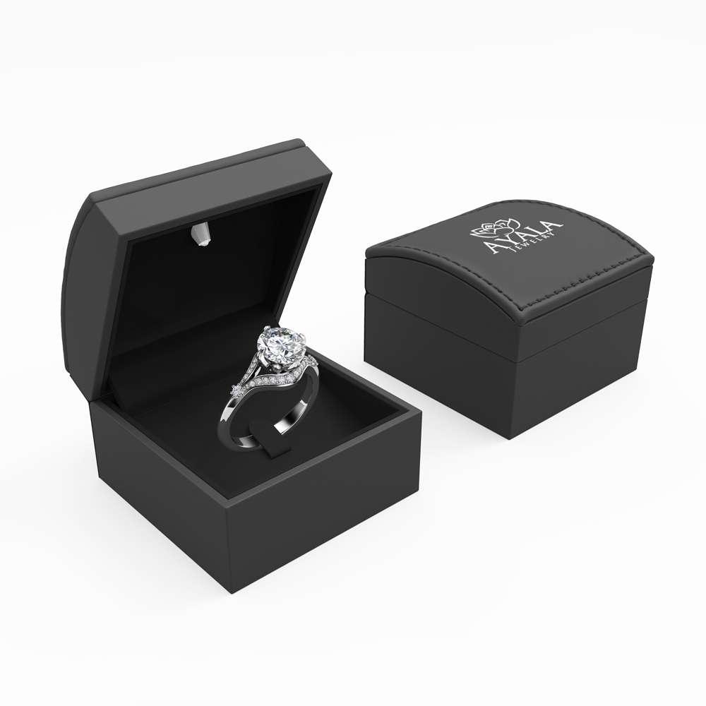 2 Carat Moissanite Engagement Ring 14K White Gold Engagement Ring Unique Diamonds and Moissanite Ring
