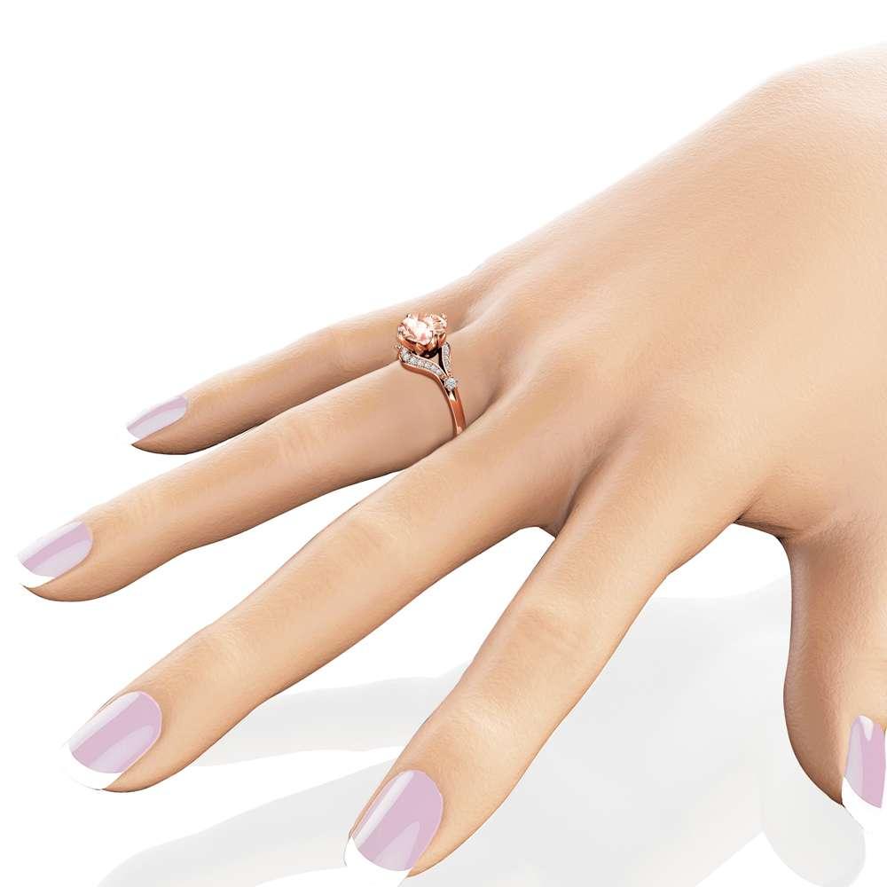 2 Carat Morganite Engagement Ring 14K Rose Gold Engagement Ring Morganite and Diamonds Ring