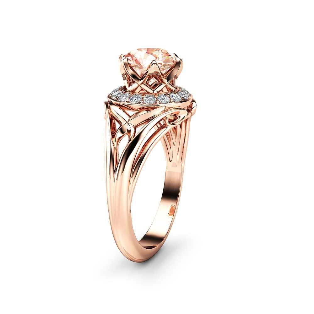 Unique Halo Morganite Engagement Ring 14K Rose Gold Morganite Ring  Art Deco Design Filigree Ring
