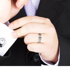 Unique Unisex Wedding Ring 14K White Gold Wedding Band Art Deco Ring Filigree Wedding Ring