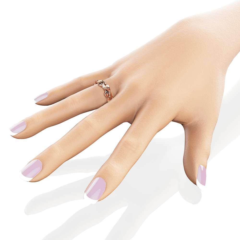 Eternity 14K Rose Gold Wedding Ring Leaves Branch Wedding Band Rose Gold Bridal Band