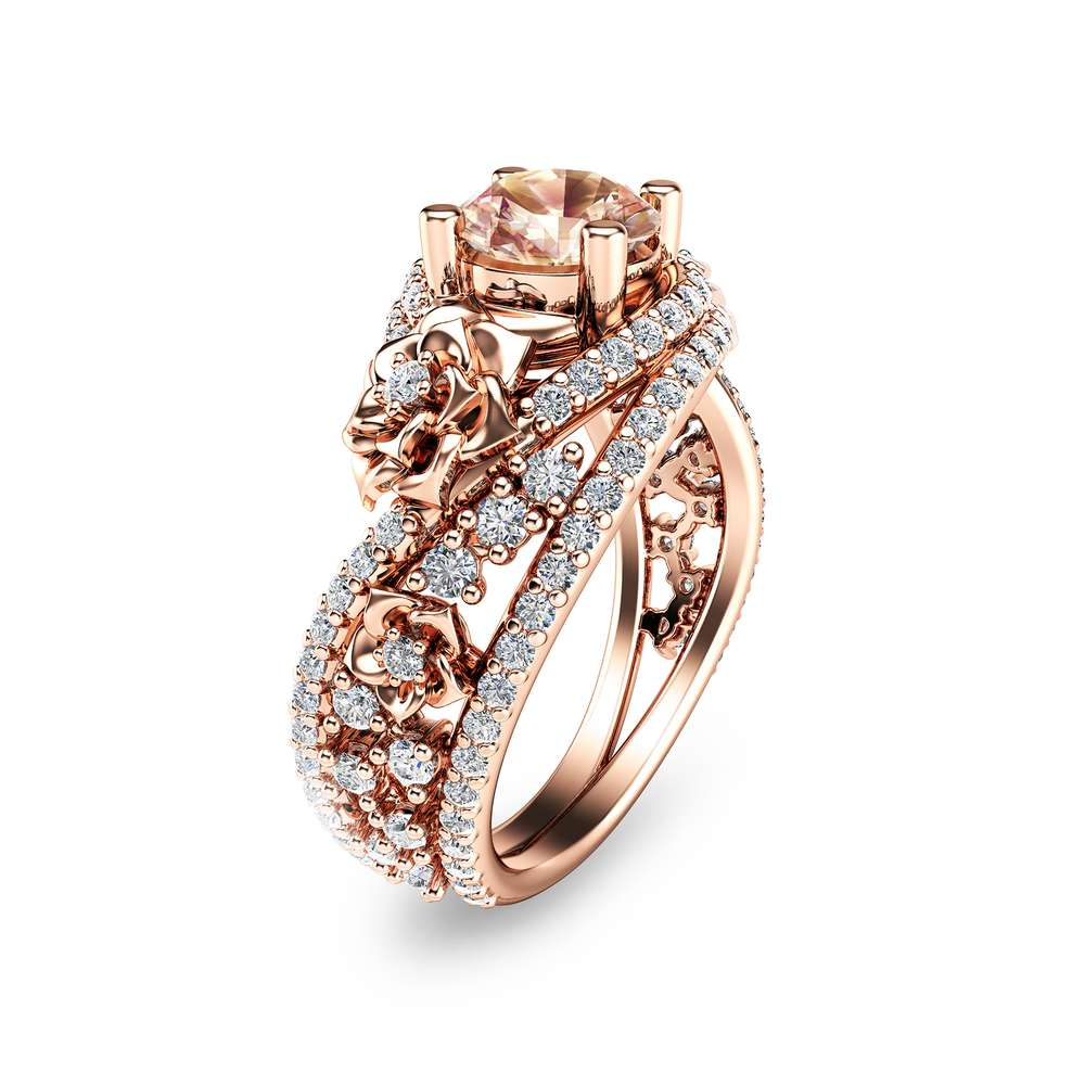Unique Rose Gold Morganite Engagement Ring 14K Rose Gold Flower Ring Natural Morganite Engagement Ring