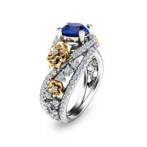 Blue Sapphire Engagement Ring 14K Two Tone Gold Anniversary Ring Sapphire Engagement Ring