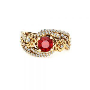 Natural Ruby 18K Yellow Gold Ring Floral Design Engagement Ring Art Deco Styled Ruby Ring