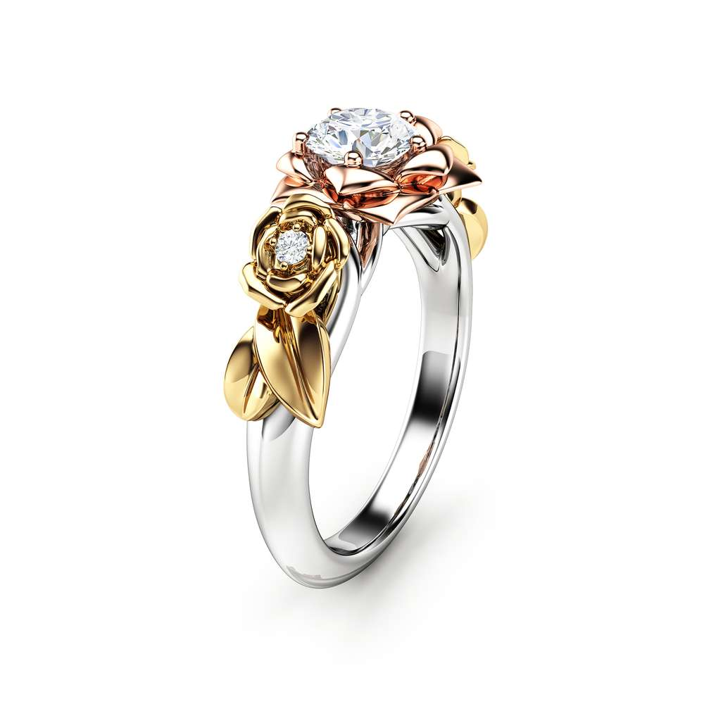 Moissanite Engagement Ring Rose Engagement Ring Moissanite Gold Ring Three Tone Gold Ring