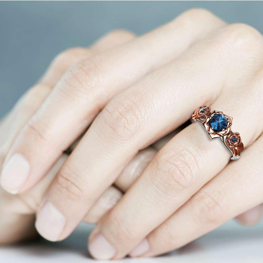 Blue Diamond Engagement Ring White Gold Ring Rose Engagement Ring Gold Diamond  Ring
