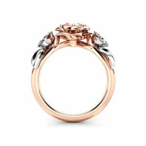 Morganite Engagement Ring White Gold Ring Rose Engagement Ring Morganite Gold Ring