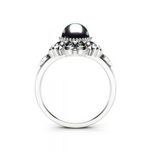 Black Pearl Engagement Ring White Gold Ring Vintage Engagement Ring Gold Pearl Ring