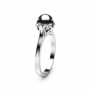 Black Pearl Engagement Ring White Gold Ring Solitaire Engagement Ring Pearl Ring
