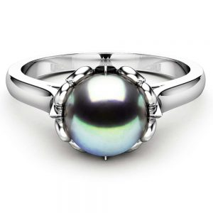 Black Pearl Engagement Ring White Gold Ring Solitaire Engagement Ring Pearl Ring