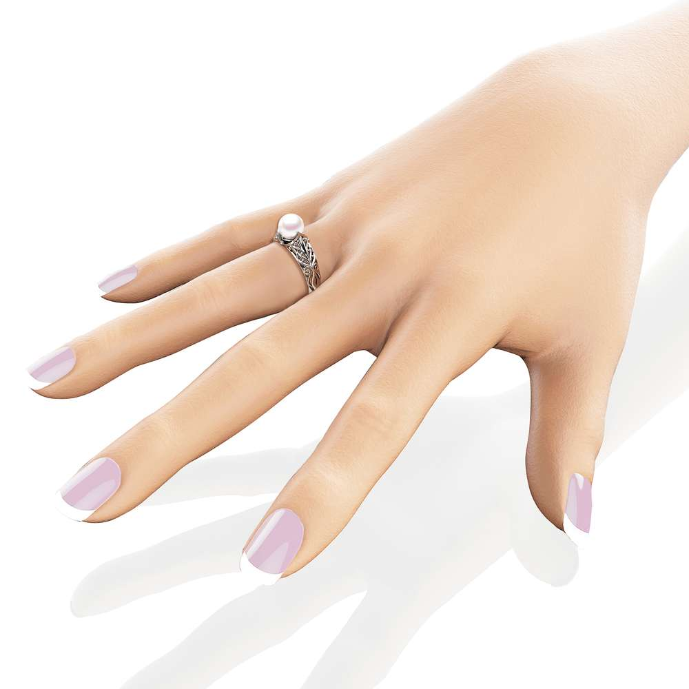 Pearl Engagement Ring White Gold Ring Solitaire Engagement Ring 14K Gold Pearl Ring