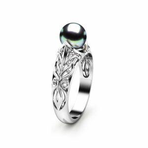 Black Pearl Engagement Ring White Gold Ring Engagement Ring Gold Pearl Ring
