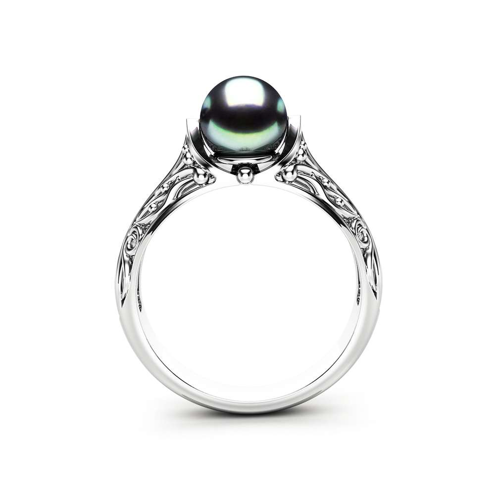 Black Pearl Engagement Ring White Gold Ring Engagement Ring Gold Pearl Ring