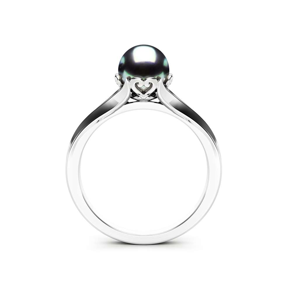 Black Pearl Engagement Ring White Gold Ring Solitaire Engagement Ring Gold Pearl Ring