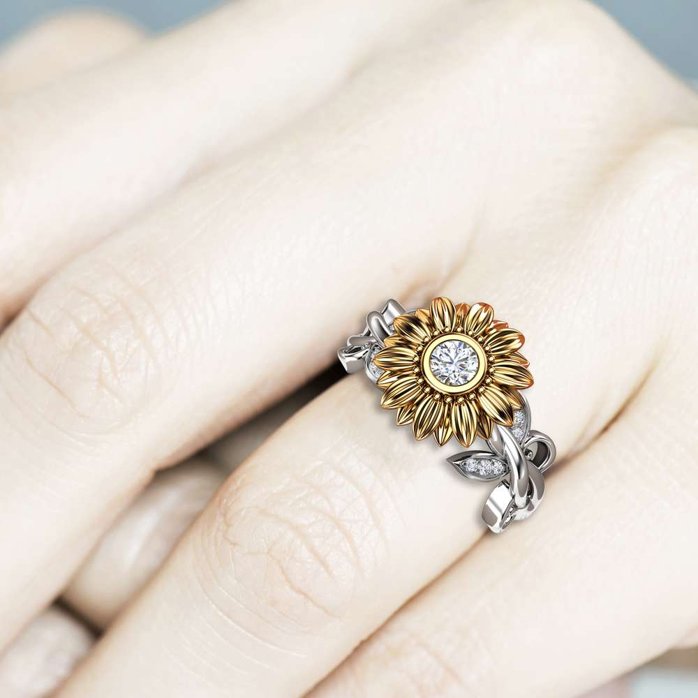 Unique 14K Gold Diamond Sunflower Engagement Ring / Gold Sunflower Ring / Flower Engagement Ring / Sunflower Jewelry / Women's Wedding Ring
