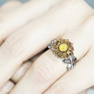Gold Diamond Sunflower Engagement Ring for Women, Flower Ring, Unique Ring Engagement Ring, Sunflower Wedding Ring, Floral Engagement Ring
