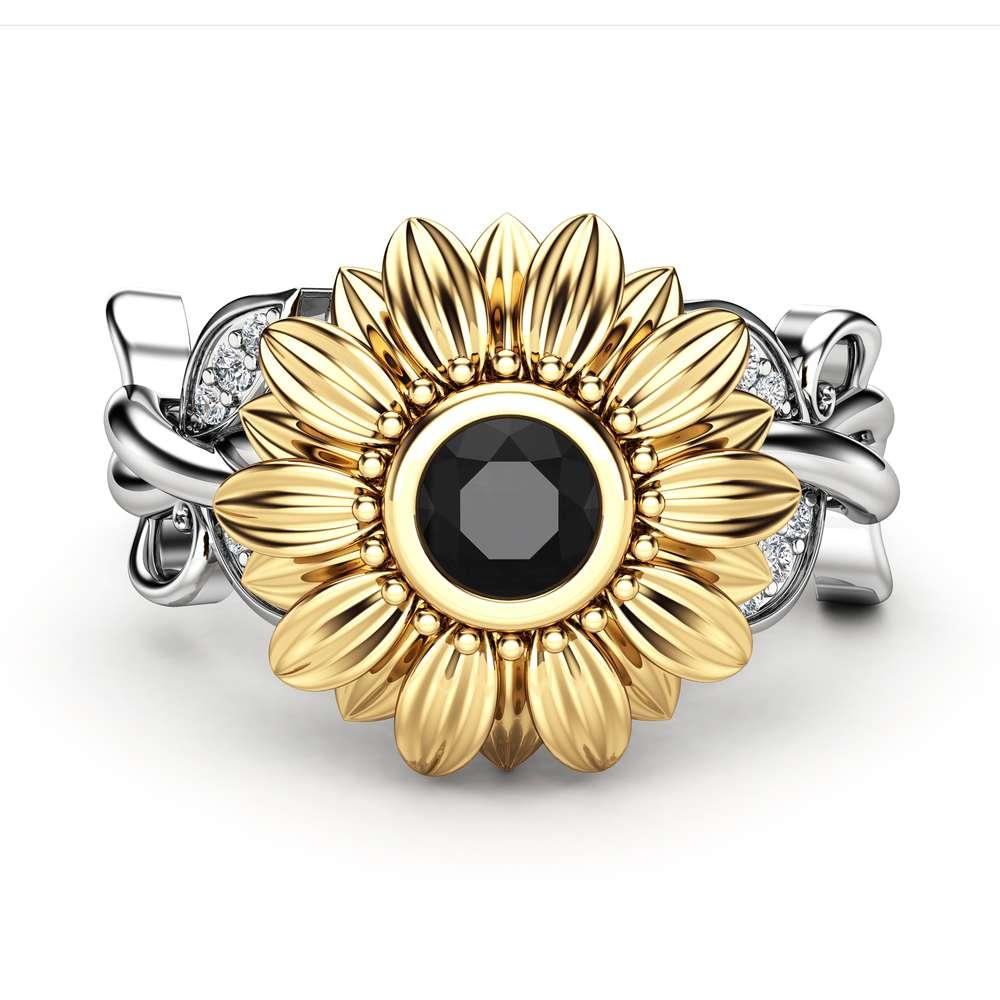 14k Gold Black Diamond Engagement Ring / Unique Sunflower Wedding Ring / Flower Engagement Ring / Sunflower Ring / Floral Black Diamond Ring