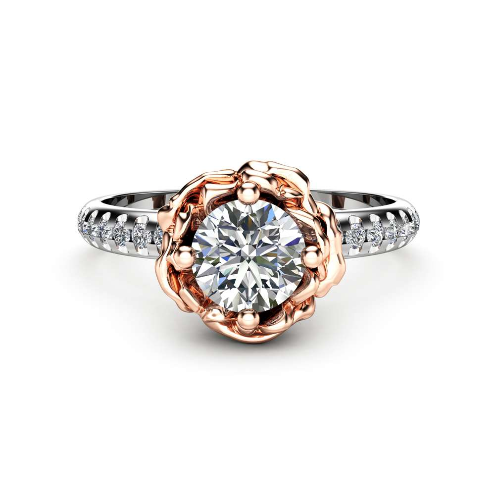 0.50Ct Diamond Engagement Ring Unique 14K Two Tone Gold Ring Natural Diamond Flower Engagement Ring