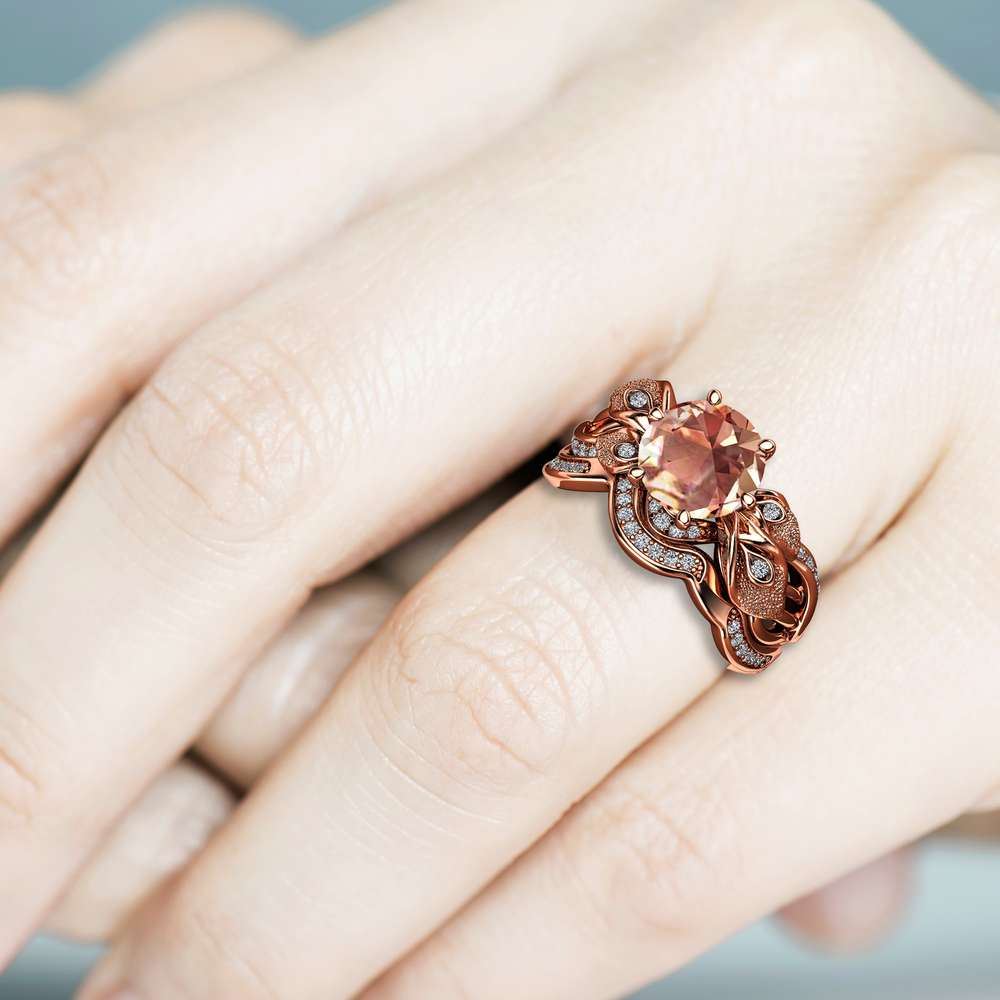 Morganite Rose Gold Bridal Ring Set, Unique Engagement Ring for Women, Flower Ring, Gemstone Engagement Ring Set, Floral Ring, Vintage Ring