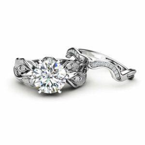 Art Deco White Gold Diamonds and Moissanite Bridal Ring Set, Flower Engagement Ring , Unique Ring, Floral Moissanite Ring for Women