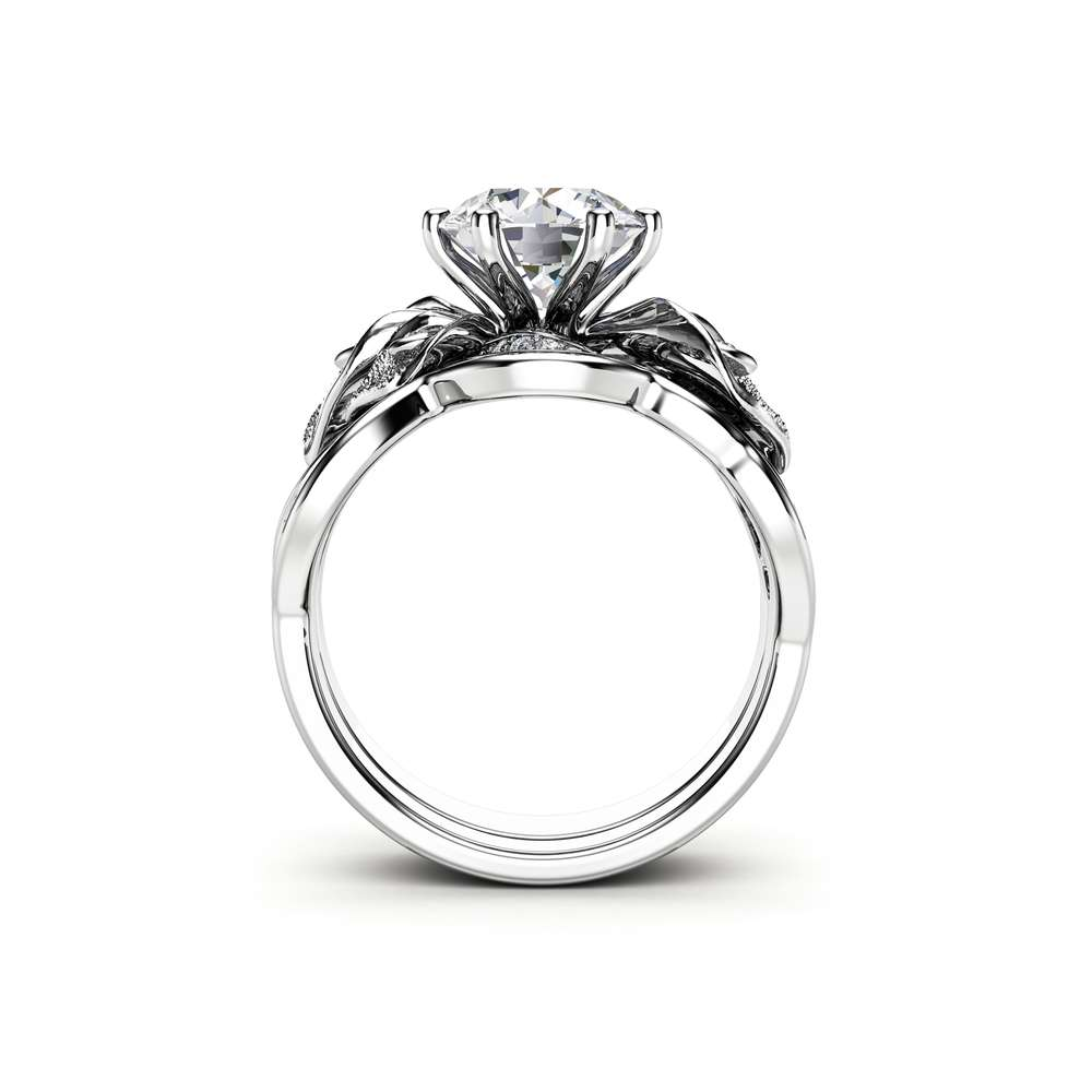Art Deco White Gold Diamonds and Moissanite Bridal Ring Set, Flower Engagement Ring , Unique Ring, Floral Moissanite Ring for Women