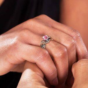 Vintage Floral Rose Gold Pink Moissanite Bridal Ring Set, Unique Engagement Ring, Flower Ring, Moissanite Ring, Wedding Ring Set