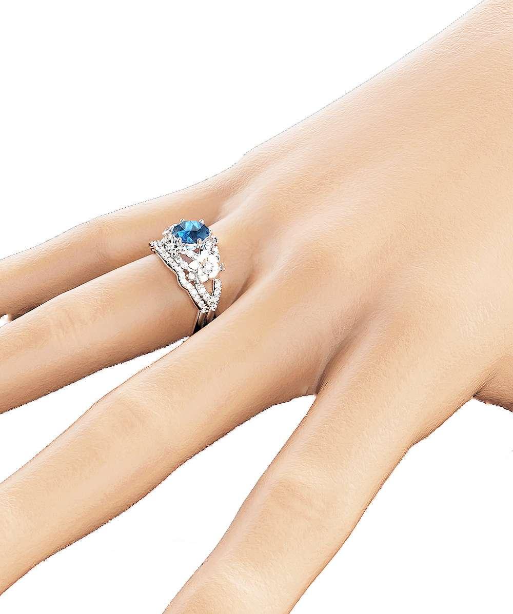 Art Deco Styled Topaz Bridal Set Unique 14K White Gold Engagement Rings London Blue Topaz Wedding Ring Set Floral Ring Set