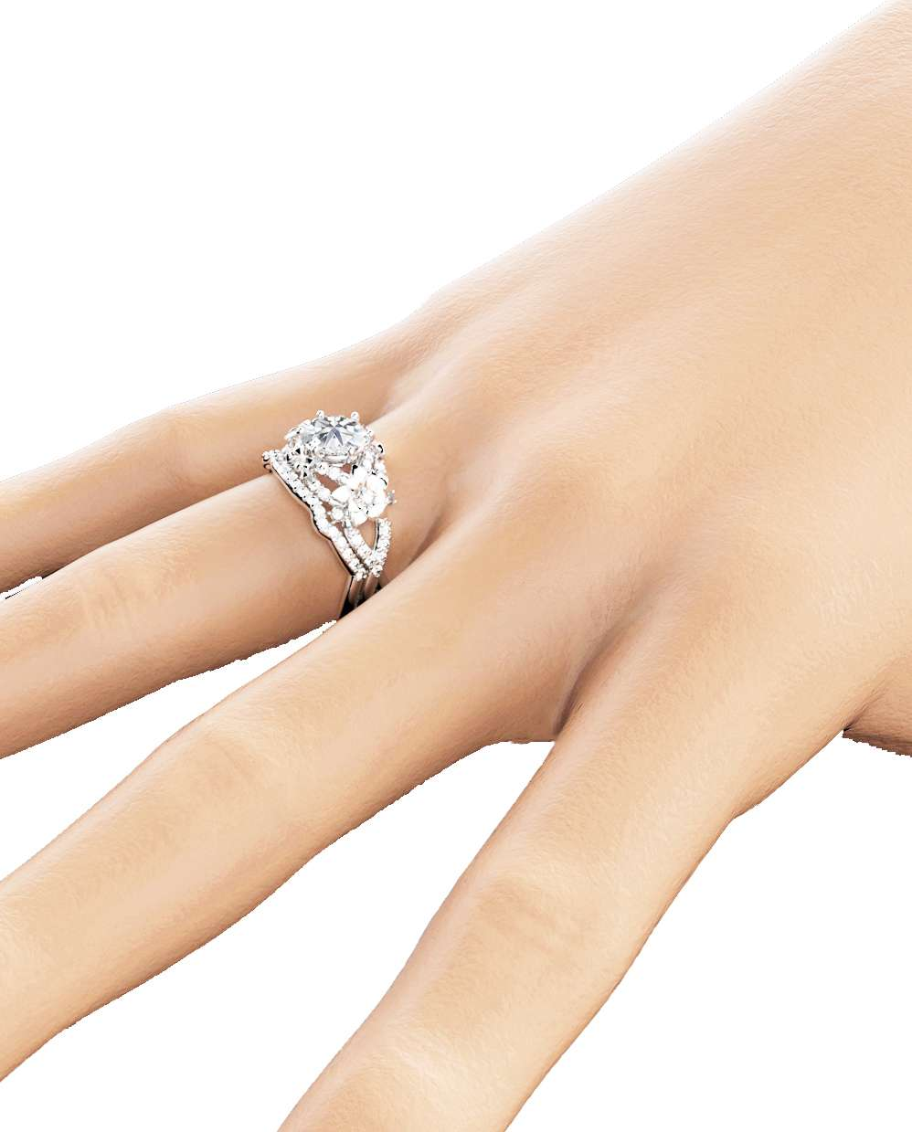 Floral Moissanite Engagement Ring Set 14K White Gold Ring with Matching Band Moissanite Engagement Rings
