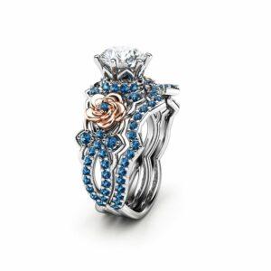 Moissanite Blue Diamonds Wedding Ring Set, Unique Blue Diamond Engagement Ring Set, Flower Engagement Ring, Floral Moissanite Ring
