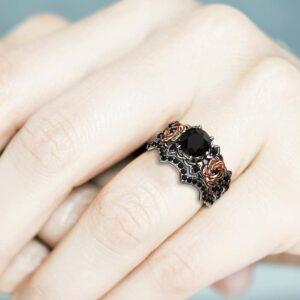 Unique Black Diamond Ring Set, Diamond Engagement Ring Set, Flower Engagement Ring, Floral Black Diamond Engagement Ring, Bridal Ring Set