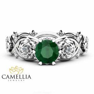 Emerald Halo Engagement Ring 14K White Gold Floral Ring Natural Emerald Engagement Ring