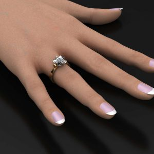 0.10 CT 14K Two-Tone Gold Diamond Ring,Designer ring,Flower Ring,Wedding Rings,Ladys Jewelry,Unique
