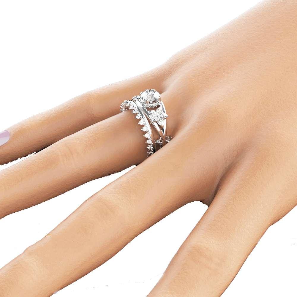 Moissanite Flower Engagement Ring Set 14K White Gold Flower Ring Engagement Ring with Eternity Diamond Band