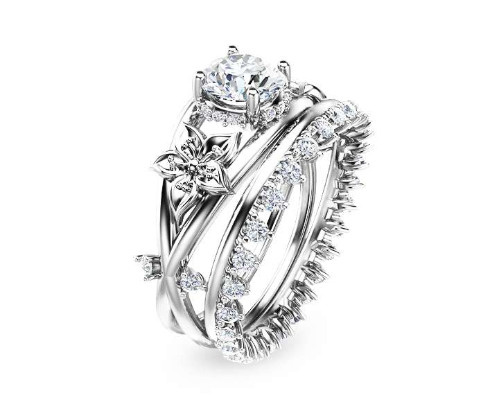 Moissanite Flower Engagement Ring Set 14K White Gold Flower Ring Engagement Ring with Eternity Diamond Band