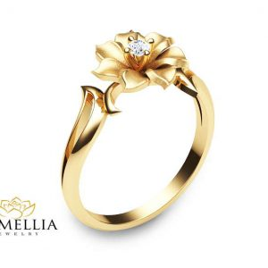 14K Yellow Gold Flower Ring Unique Diamond Engagement Ring Leaf and Flower Solitaire Ring Nature Ins