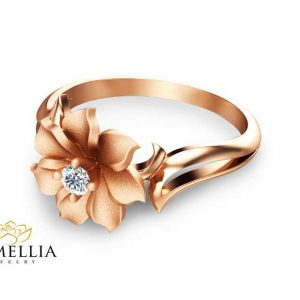 Unique Diamond Engagement Ring in 14K Rose Gold Leaf and Flower Solitaire Ring Nature Inspired Engag