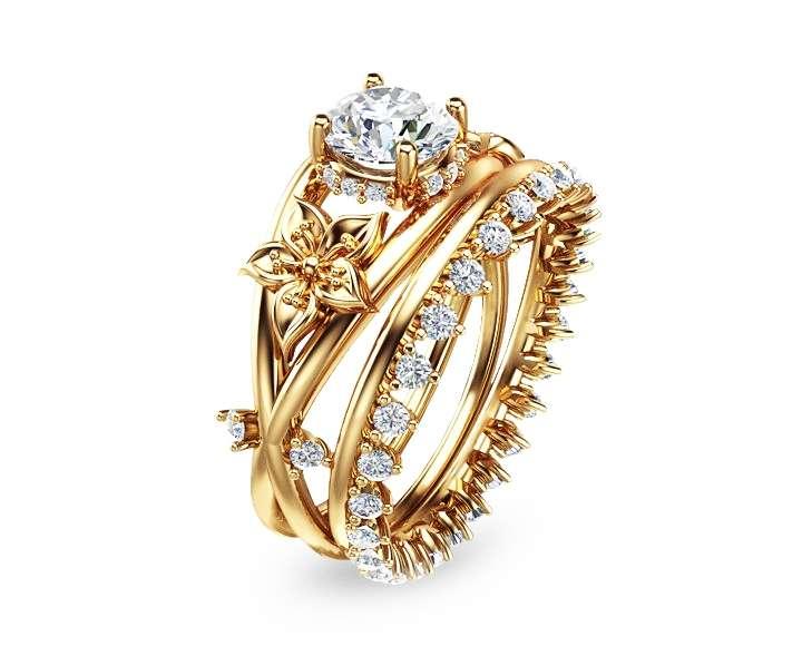 Moissanite Flower Engagement Ring Set 14K Yellow Gold Flower Ring Engagement Ring with Eternity Diamond Band