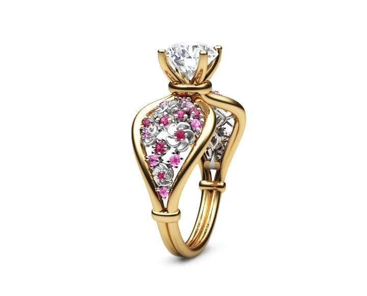 14K Two Tone Gold Moissanite Ring Unique Flower Engagement Ring Moissanite Gemstone Ring