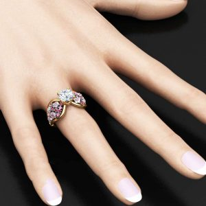 14K Two Tone Gold Moissanite Ring Unique Flower Engagement Ring Moissanite Gemstone Ring