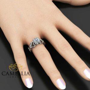 Moissanite Heart Engagement Ring 14K White Gold Moissanite Ring Unique Heart Engagement Ring