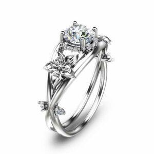 Moissanite Unique Engagement Ring 14K White Gold Flower Ring Moissanite Engagement Ring