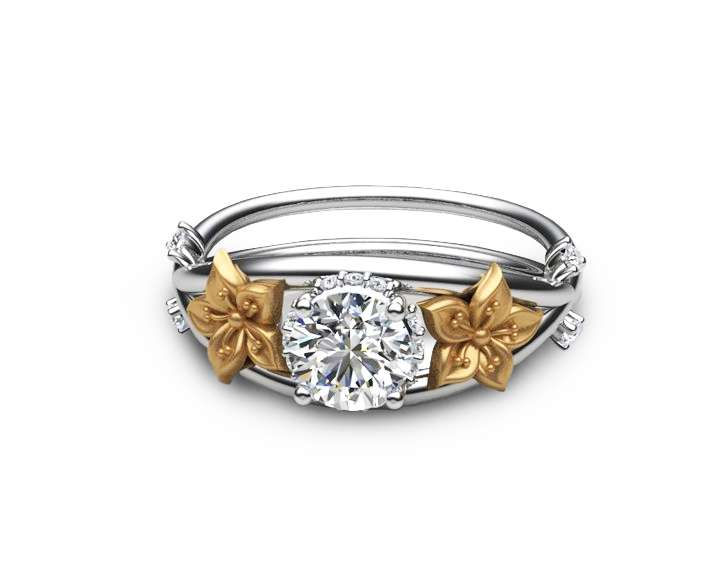 Moissanite Unique Engagement Ring 14K Two Tone Gold Flower Ring Moissanite Engagement Ring