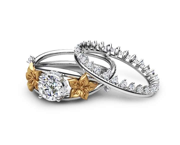 Moissanite Flower Engagement Ring Set 14K Two Tone Gold Flower Ring Engagement Ring with Eternity Diamond Band