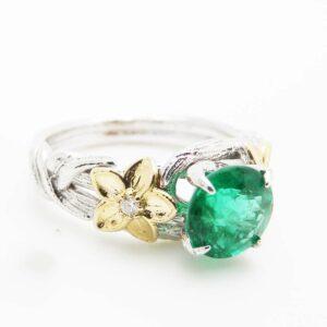 Unique Emerald Engagement Ring 14K White Gold Twig Engagement Ring Natural Emerald Ring