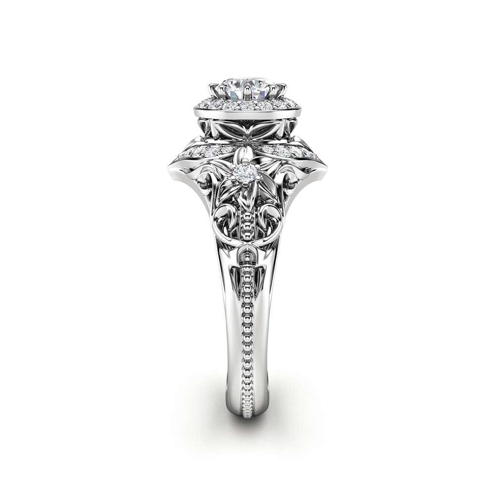 Diamond Engagement Ring Halo Ring 14K White Gold Vintage Filigree Engagement Ring