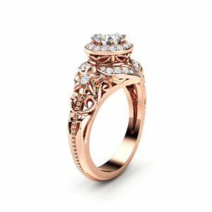 Diamond Engagement Ring Halo Ring 14K Rose Gold Ring Floral Filigree Engagement RingEngagement Ring
