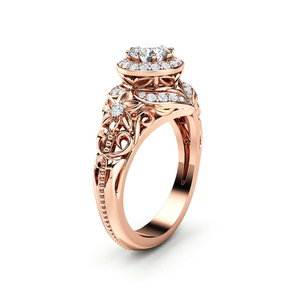 Diamond Engagement Ring Halo Ring 14K Rose Gold Ring Floral Filigree Engagement RingEngagement Ring